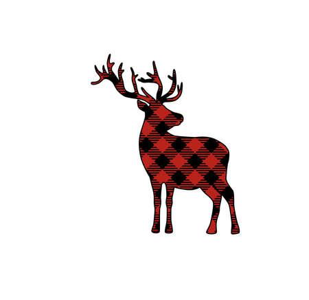 Buffalo plaid Christmas deer