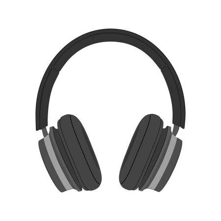 Headphones.Large black headphones. Иллюстрация