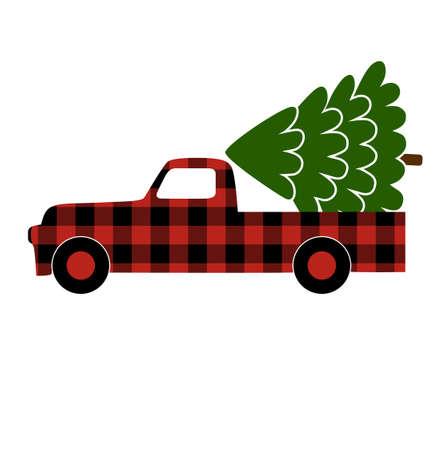 Buffalo plaid Christmas truck with Christmas tree