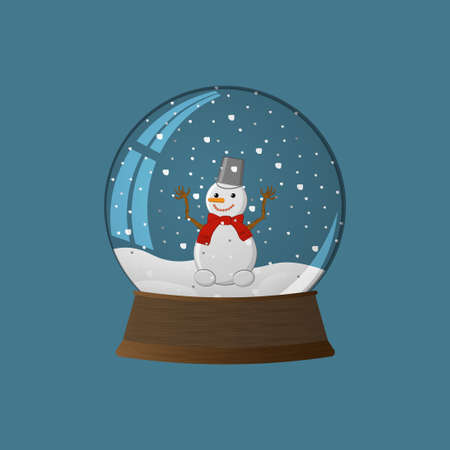 Snow ball with snowman Stock Illustratie