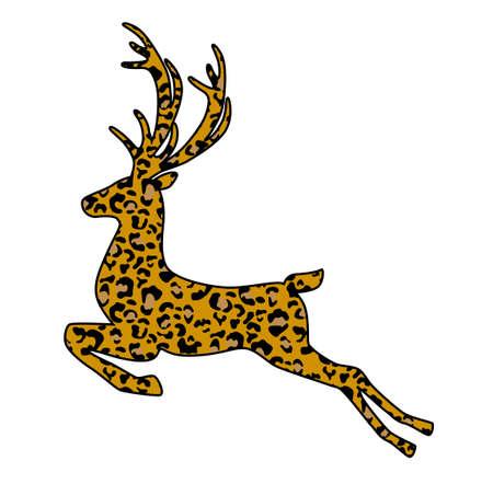 Jumping leopard deer vector illustration