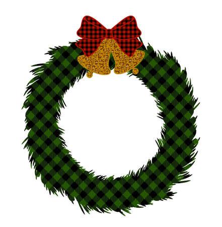 Buffalo plaid Christmas wreath with bells