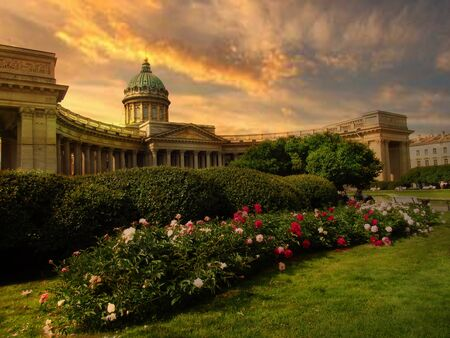 Russia, St.Petersburg Petersburg, Kazan Cathedral, July 10, 2012. The photo was taken from Nevsky Prospekt in the evening. Stock Photo