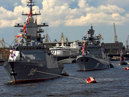 Russia, St.Petersburg Petersburg, Neva, 07212012. At the photo the warships in the water area of Neva Editorial
