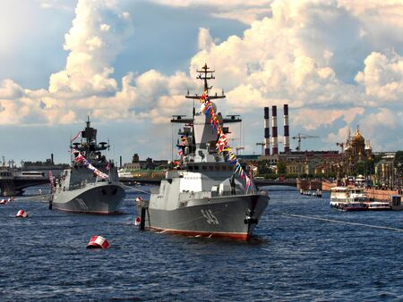 Russia, St.Petersburg Petersburg, Neva, 07212012. At the photo the warships in the water area of the Neva Editorial