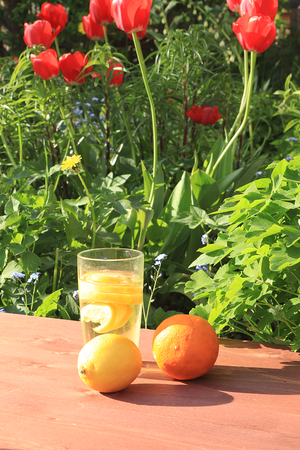 Summer drinks in the garden on the old table with tulips. Apricot juice on the background of old wooden boards and wildflowers