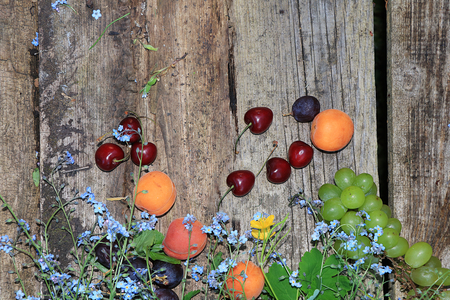 Old wooden boards with cherries and forget-me-nots, top view. Field flowers and fruits on an old wooden background in a summer garden
