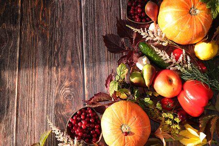 Thanksgiving, Herbsthintergrund mit saisonalen Herbstnaturbeeren, Kürbissen, Äpfeln und Blumen auf Holzhintergrund, Draufsicht, Kopierraum, flache Lage. Happy Thanksgiving-Konzept, selektiver Fokus.