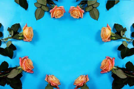 Roses on a blue background, abstract spring floral background. Creative modern bouquet, minimal holiday concept. Greeting card for Women's Day or Mother's Day, happy birthday, wedding, gift for loved ones, place for text, Foto de archivo - 141426939