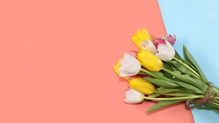 Creative layout with tulips on a colorful background, minimal holiday and spring concept, geometry. Greeting card, spring banner for the screen, happy birthday, wedding, place for text, Foto de archivo - 141923879