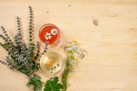 Autumn flower arrangement with useful wild herbs and herbal tea, text space, flat lay,