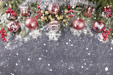 Christmas decorations, postcard, banner for showing, Happy new year 2021 background with branches with balls and ribbons in snow flakes, product decoration for holiday advertising, winter Foto de archivo