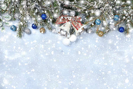 New year background with bokeh lights, for branches with pine cones and decorations in snow flakes.Christmas greeting card, banner for showing, product setting for festive promotion,