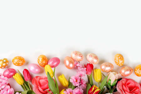 Happy Easter concept, spring card, composition with flowers and eggs on a gentle background. Festive minimal concept, place for text, banner for screen,
