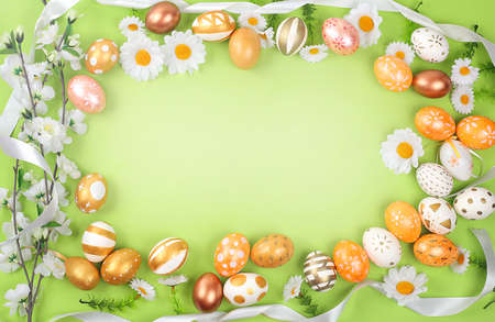 Decorated Easter eggs with place for text. Minimal holiday concept. Happy easter background. Creative painting of eggs, idea of simple drawings for coloring, postcard, banner for screen, selective focus
