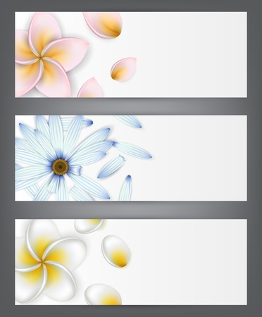 Set of paper flower headers.  Illustration
