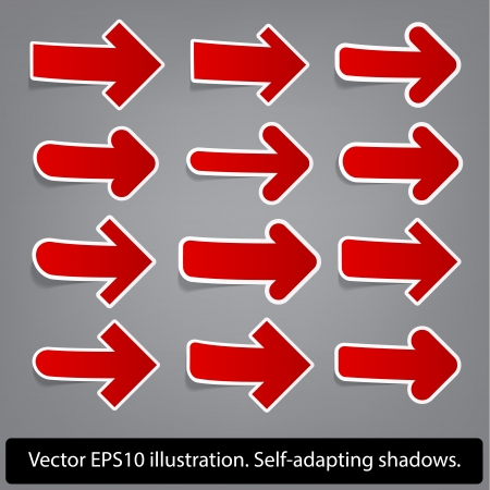 Right direction arrows  Paper red arrow collection Stock Vector - 17658193