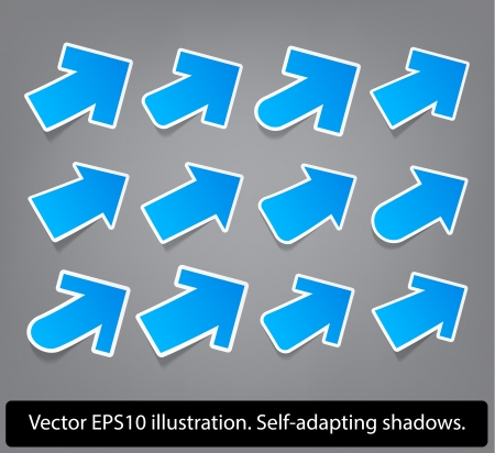 Right-up direction arrows  Paper blue arrow collection  Vector  Eps10