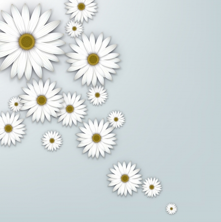 White daisy flowers field background. Stock Vector - 18167151