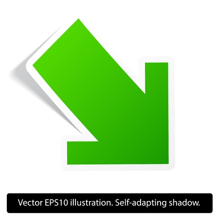 Down direction green paper arrow. Paper red arrow. Vector. Eps10.  Stock Vector - 18167072