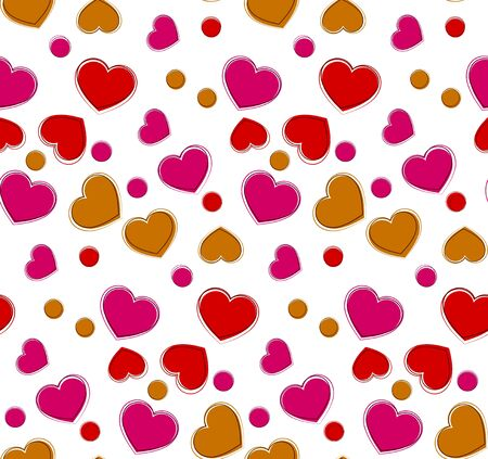 Heart seamless pattern. Vector wrap template. Eps10.  Illustration