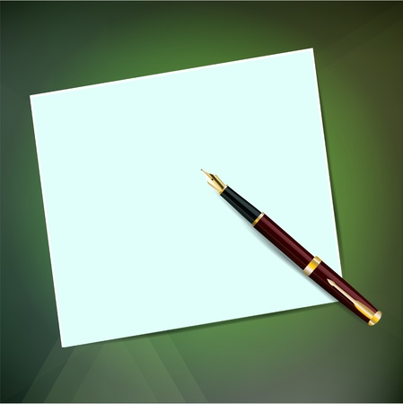 A sheet of paper with a pen with a gold nib on a green background Illustration