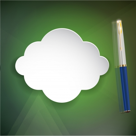 Abstract form of paper (3d) with a pen on a green background. Vector Eps 10 Illustration