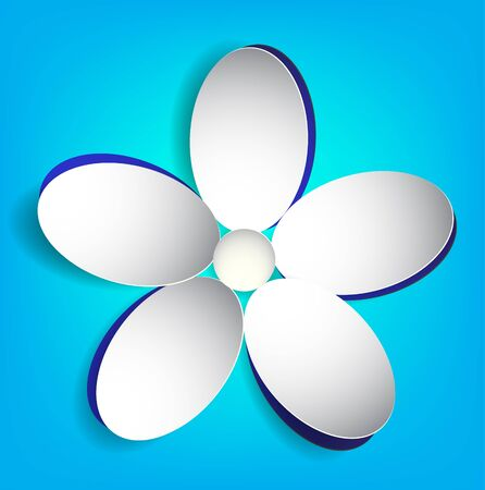 Cut white paper flower on a blue background. Vector Eps 10