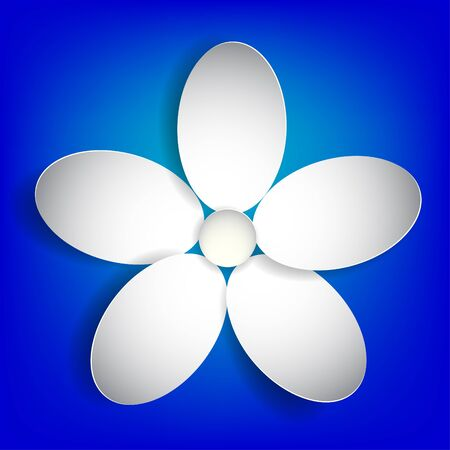 White paper flower on a blue background.Vector Eps 10 Illustration