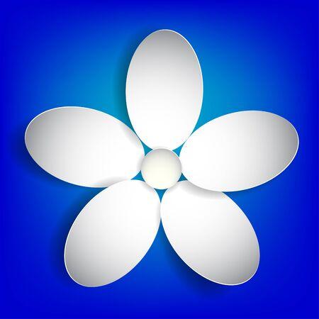 White paper flower on a blue background.Vector Eps 10 Stock Vector - 18265652