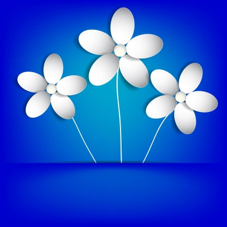 white paper flowers in the pocket on a blue background. vector Eps 10 Illustration