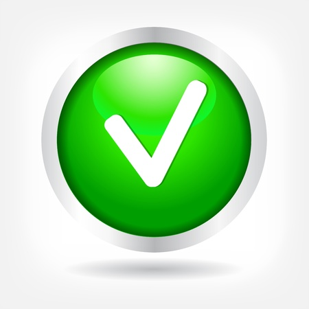 permission granted: Checkmark on a green button. vector Eps 10