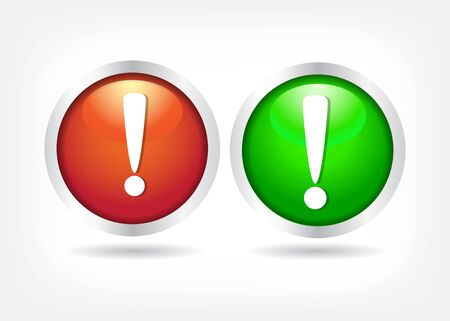 Exclamation signs on  red and green buttons. vector eps 10