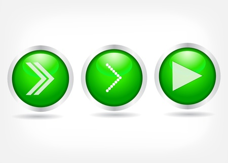 Green buttons with arrows. Vector Eps 10