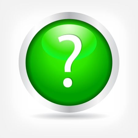 Question mark on a green button. Vector Eps 10