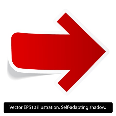 Right direction red paper arrow. Paper red arrow. Vector. Eps10.
