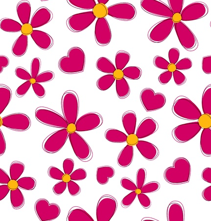Flower love seamless pattern. Vector wrap template. Eps10.  Illustration
