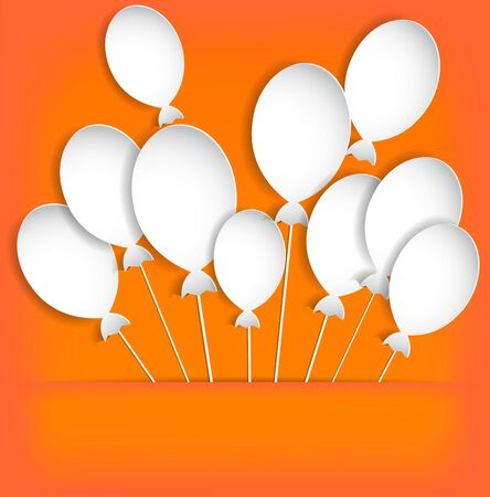 Balloons on the orange background  In a paper pocket