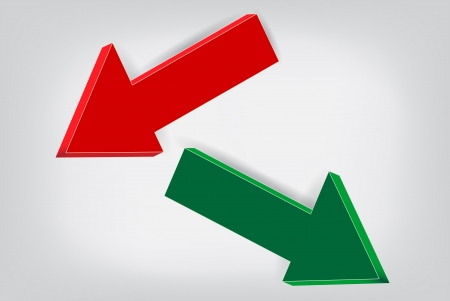 Red and green volume Arrows