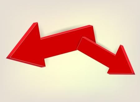 Red Arrows volume in opposite directions  Vector Eps 10 Stock Vector - 18775650