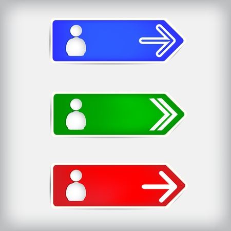 A set of colored arrows and shapes of people on a gray background.  Illustration