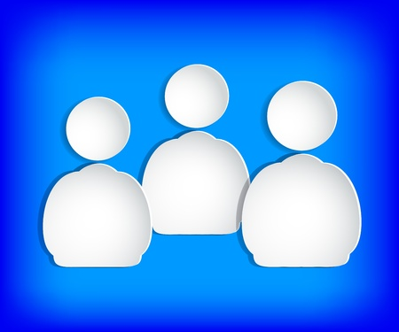 The human figures on paper. Blue background.