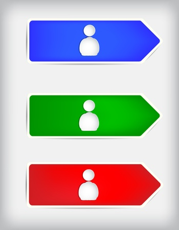 Colored arrows and shapes of people on a gray background.