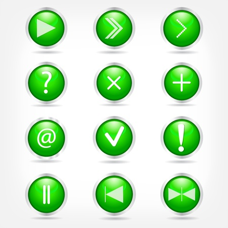 A set of green glass buttons with arrows and math signs.  Vector