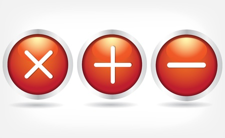 logon: Red glass buttons with plus signs, minus and cross.
