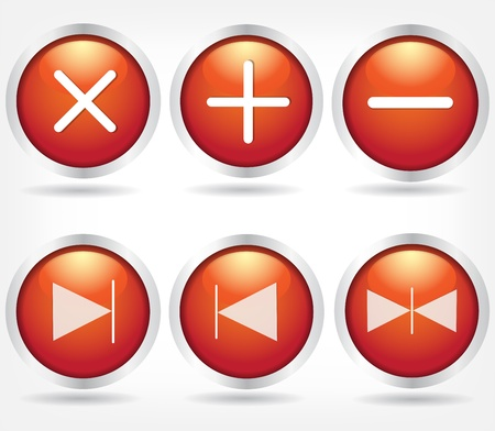 Set of red glass buttons with arrows and math signs.  Vector
