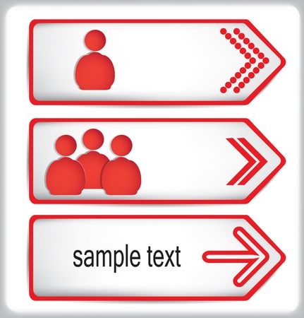 Red figures of people on the arrows of the paper.  Illustration