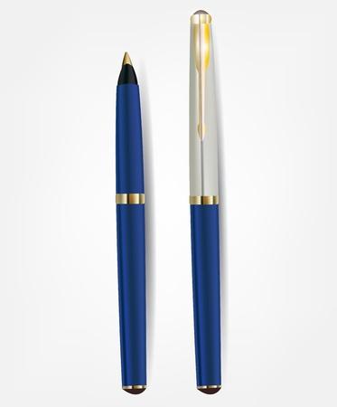 Blue ballpoint pen closed. Detailed form.  Illustration