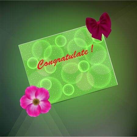 Greeting card on a green background with a flower and bow.  Illustration