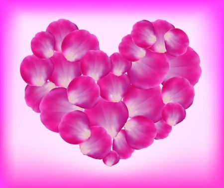 Heart of rose petals.  Illustration